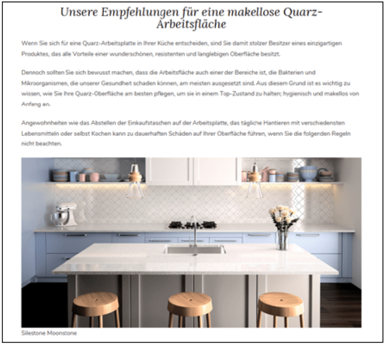 This screenshot shows an article of the my perfect kitchen website by Cosentino.