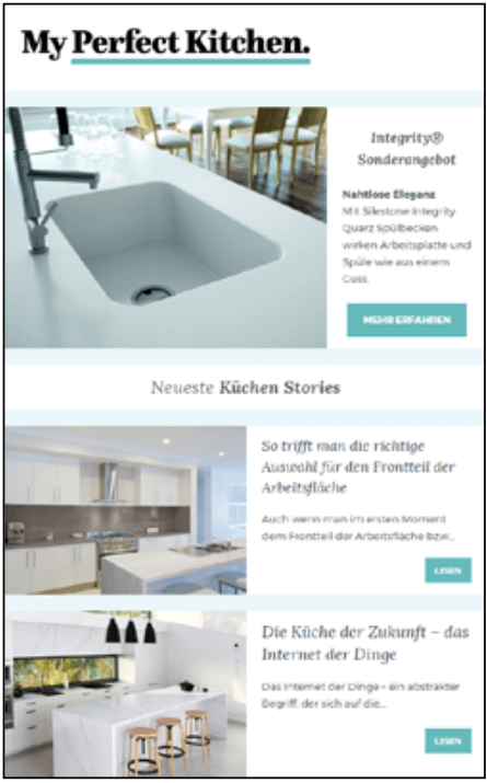 Here you can see a screenshot of the newsletter of my perfect kitchen.
