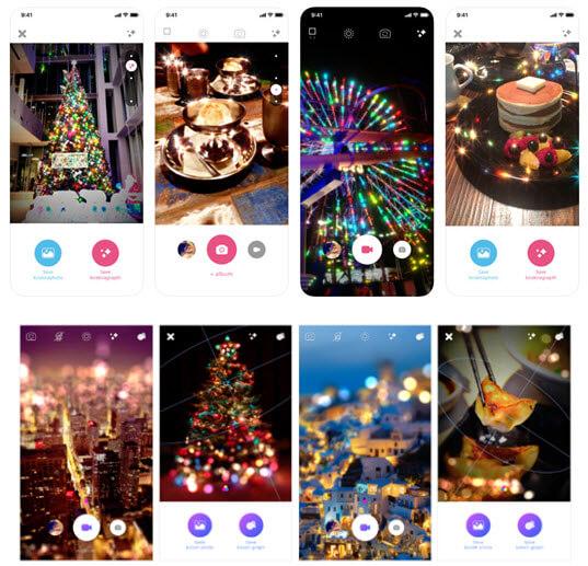 Screenshots aus den Weihnachtsapps kirakira+ und bokeh+