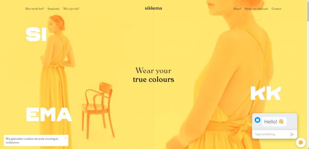 Screenshot der Webseite Sikkema.be mit knalligem Gelb