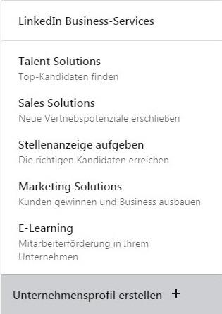 """Unter """"Apps"""" können Sie sich ein Unternehmensprofil erstellen"""