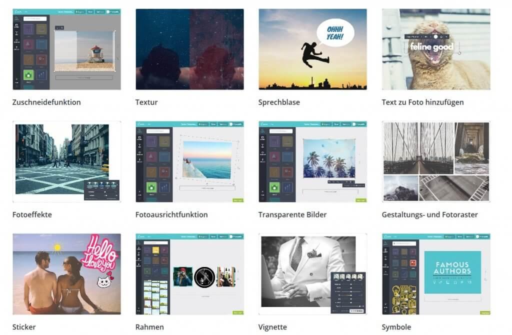 Screenshot der Bearbeitungsmöglichkeiten im Canva Tool