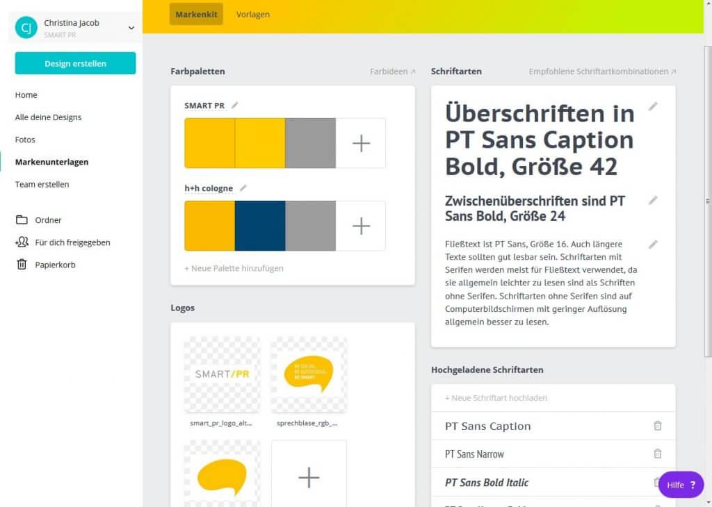 """Screenshot des Bereichs """"Markenunterlagen"""" im Canva Tool"""