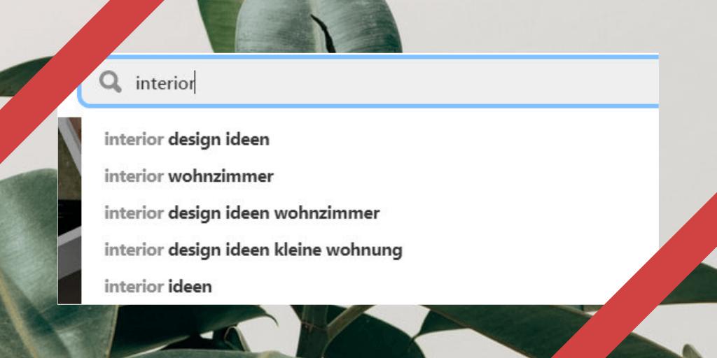 Pinterest Suchleiste zeigt beliebtesten Keywords an
